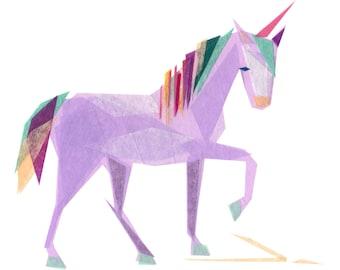 Violet Unicorn - Animal Art Print