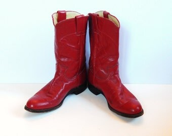 Red Cowboy Boots - Red Boots - Vintage Red Boots - Justin Boots - Women 6 Boots