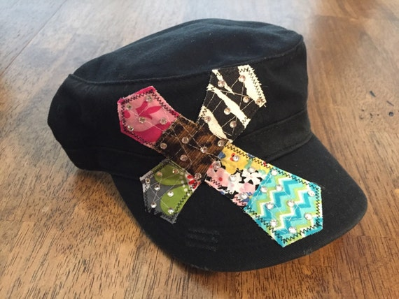 Bling Cross Military Hat by Two Girls Who Make Crosses