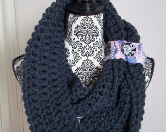 chunky pure wool crocheted infinity scarf with removable cuff ~ darkest grey ~