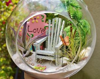 "Beach Terrarium Kit ~Cross and Beach Chair ~ 2 Air plants ~ 7"" Glass Round Globe ~ Palm Tree, FlipFlops, Butterfly ~ Beach Decor ~ Gift Idea"