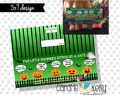 INSTANT DOWNLOAD Printable 5 Five Little Pumpkin Poem Trick Or Treat Treat bag Toppers Labels