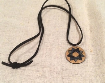 Baha'i Nine Pointed Star Gourd pendant with leather strap