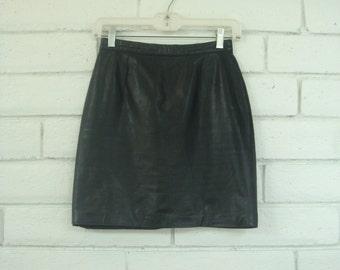 80's BLACK LEATHER MINI skirt vintage rocker punk rock perfect little black skirt xS size 6