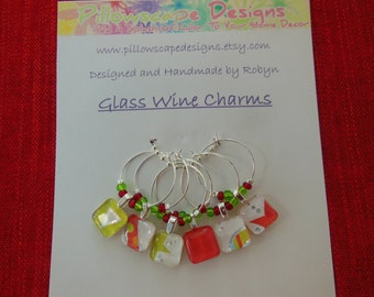 Glass Wine Charms - Red Glass Charms - Green Charms - Set of Six - Glass Wine Charms - Hostess Gift - House Warming Gift - Entertaining