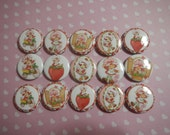 15 Strawberry Shortcake Inspired Craft Flat Back Embellishment Buttons