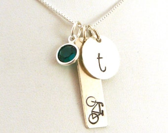 Bike Necklace in Sterling Silver with Initial and Birthstone - Bicyclist Jewelry - Bicycle Necklace