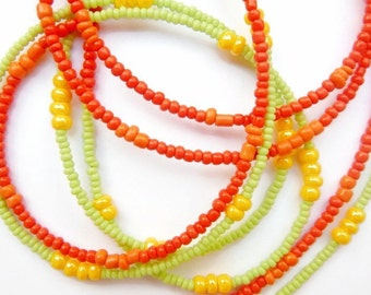 Double-Strand Multicolored Waistbeads, Belly Chain, Belly Beads, African Waist Beads