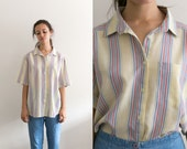 Yellow Striped Button Up Shirt / 80s Button Down Blouse / Thin striped print 80s pastel vintage Womens Top / Dress Shirt collared large XL