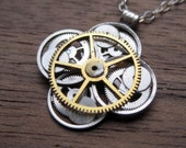 "Clockwork Flower Necklace ""Alpini"" Elegant Recycled Watch Parts Gear Pendant Mechanical Plant Balance Wheel Petals Valentine's Day"