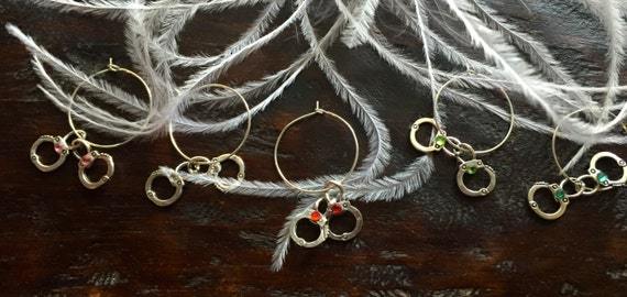 Silver handcuff wine glass charms adorned with crystals bachelorette