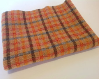 Bright Orange Plaid, Wool for Rug Hooking and Applique, Select a Size, J997, Mill Dyed Wool Fabric, Washed Wool Fabric