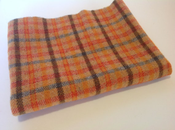Bright Orange Plaid, Wool for Rug Hooking and Applique, Select a Size, J997