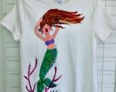 Merry Mermaid Handpainted Tshirt for Women