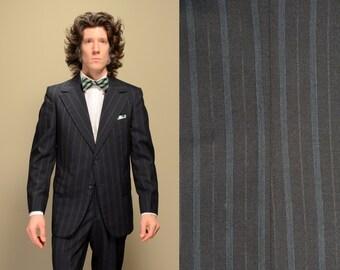 mens vintage suit 70s suit navy blue striped suit wide lapel McAllister 1970s menswear 40 40R pinstripe suit Lucky 7