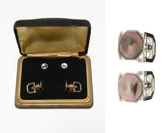 vintage 30s 40s Swank cufflink shirt stud set cuff link set mother of pearl silver metal 1930 1940 art deco evening set