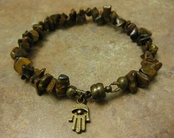 tiger eye gemstone bracelet, hamsa bracelet, tiger eye jewelry, tiger eye, hamsa jewelry, hamsa bracelet, magnetic bracelet, tree of life