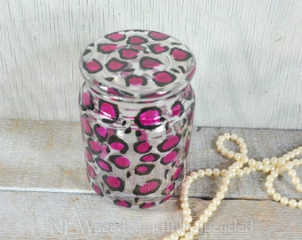 Glass canister storage jar, hand painted glass storage container, C h e e t a h print, pink and black
