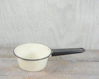 Enamelware pot, white enamelware, black and white