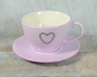 Heart coffee mug / unique coffee cup / hand painted heart / coffee cup / cute tea cup / coffee mug / light purple