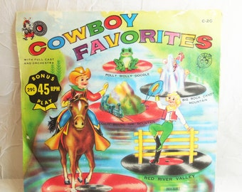 Cowboy Favorites - Cricket 45 RPM - Childrens Record - Vintage Vinyl