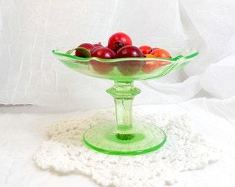 Vintage Clear Green Glass Pedestal Dish Candleholder Cottage Decor