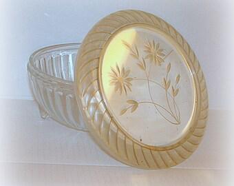 Glass Dresser Box Vintage Antique Round Shape with Ribbed Sides Etched Lid Trinket Jar Storage Piece Make-Up Container