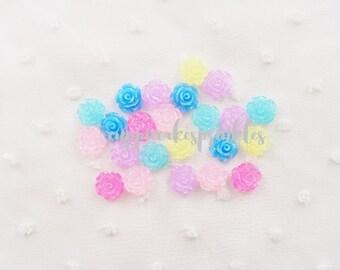 12pcs - Small Milky Jewel Tone Glittery Rose Mix Flatback Decoden Cabochon (10mm) FL10020