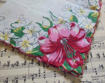 Beautiful hanky with bright red lilies and little white flowers