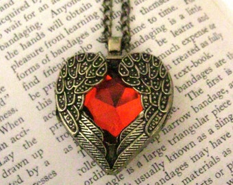 You Are Loved Winged Red Heart Pendant Extra Long Necklace