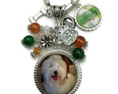 CUSTOM PHOTO BEZEL Pendant Necklace Or Keychain With Matching Beads And Name Charm