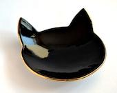 Black cat ring dish - gold rim detail - black ceramic jewelry dish plate - wedding ring bearer holder