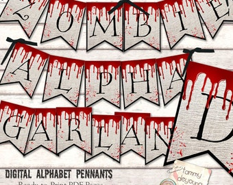 Halloween Banner, Zombie Party, DIY Halloween Garland Alphabet, Vampire decorations, Creepy Letters, Halloween Decor bunting