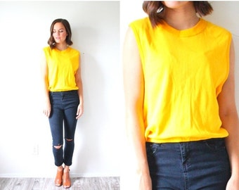 20% OFF BIRTHDAY SALE Vintage retro Small yellow tank top // boho tank top // retro tank top // bright yellow tank top // cropped top / crop
