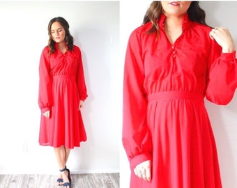20% OFF VALENTINES SALE Vintage Modest long sleeve dress // Medium red dress // modest dress // button down high neck dress // fancy dress /