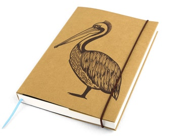 Journal, Notebook, Pelican (Large), Sketchbook, Personal agenda, Travel Journal, Diary, Calendar, Craft, Hardcover, Unique gift, Artistic