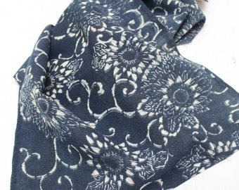 Antique Indigo. Hand Loomed Japanese Katazome Cotton. Aizome. Antique Chrysanthemum Floral Stencil Design (Ref: 1241)