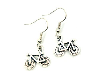 Tiny Bike Earrings - Antiqued Silver Vintage Style Bicycle Bike Dangle Earrings - Gifts Ideas - CP130