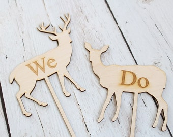 Buck and Doe Wedding Cake Topper Country Wedding Cake Topper Rustic Wedding Cake Topper We Do Cake Topper