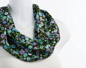 Short Silky Infinity Scarf in Multi Colored Sweet Flowers on a Black Background, Blue, Lavender, White ~ SK204-S1