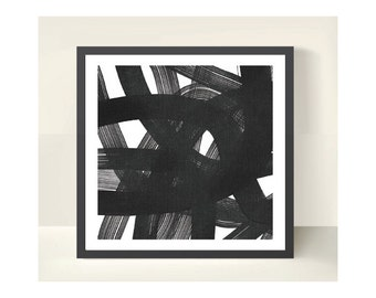 "Charcoal Ribbons - Print, 30"" x 30"" - Limited Edition of 20 Only"