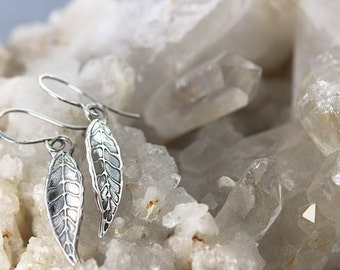hand drawn leaf earrings|sterling silver