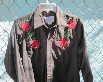 vintage rockmount western pearly snap shirt, sz m, western wear tru west