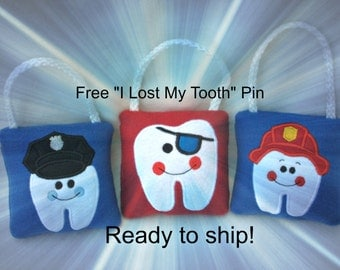 Tooth Fairy Pillow, Ready to ship. Policeman, Pirate, Fireman