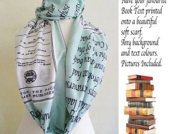 Custom Book Scarf, Uk,Personalised Gift, Unique Gift For Writers, gift,  Literary Gift, Personalised Gift By Rooby Lane