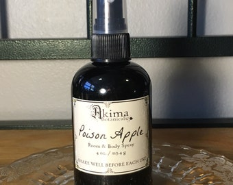 POISON APPLE Room & Body Spray 4oz ~ crisp apple, amber, iris ~ Free from alcohol, parabens, preservatives ~ For home, office, car