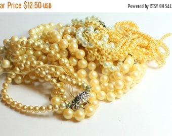 SPRING SALE Lot Over half of a Pound of Vintage Salvaged Glass Pearl Necklaces Perfect for Bridal Assemblage