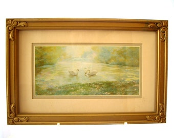Vintage DAC  NY  Swan Lithograph Homeco Gold Frame 1984