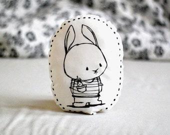 Stuffed pillow with bunny rabbit Decorative pillow Animal pillow Nursery decor Illustrated cushion Black white Scandinavian style