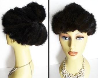 Vintage Mink Hat//Dark Sable/1960s Hat/Gwenn Pennington//Designer mink hat//Couture